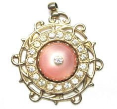 Vintage Gold Toned Necklace Pendant Rose Cabochon Clear Rhinestone in Middle G78 | eBay