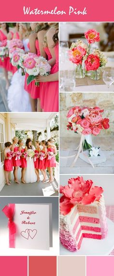 gorgeous watermelon pink wedding ideas and wedding invitations #WeddingIdeasSummer