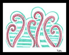 """Greeting Art Card w/envelope, """"Hearts and Mint,"""" by Rielle 5 1/2"""" x 4 1/4"""" on Etsy, $4.99"""