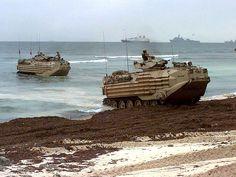 US Marine Corps AAV-7s come ashore in Somalia.