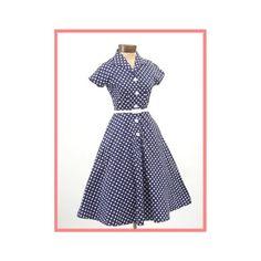 50's Style Navy Blue White Polka Dot Dress