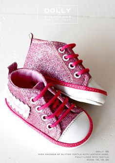 DOLLY by Le Petit Tom ® BABY HIGH SNEAKER 3S pink glitter