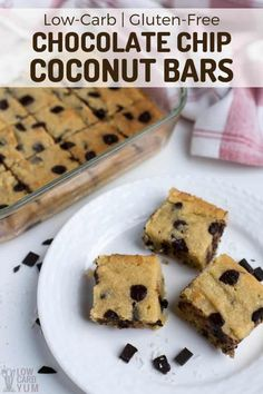 Chocolate Chip Coconut Bars (Low-Carb, Gluten-Free) Easy to make low-carb and gluten-free chocolate chip coconut bars are great alternative to regular chocolate chip cookie bars. Enjoy one fresh out of the oven with a glass of almond milk! Low Carb Sweets, Low Carb Desserts, Gluten Free Desserts, Dessert Recipes, Keto Recipes, Dessert Bars, Cookie Recipes, Low Carb Chocolate, Gluten Free Chocolate