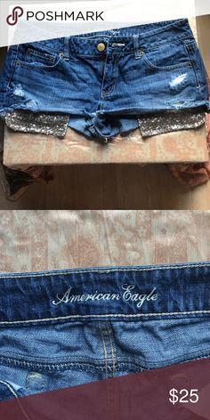 Shorts American Eagle distressed pocket sequined shorts . Worn once American Eagle Outfitters Shorts Jean Shorts