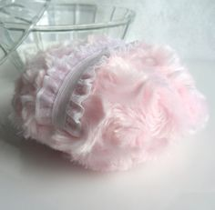 PINK Powder Puff - soft pink and white - pouf rose- dusting powder bath puff - gift boxed