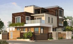 Exterior by arch point modern Unique House Design, Bungalow House Design, House Front Design, House Elevation, Building Elevation, Front Elevation, Modern Home Interior Design, Corner House, False Ceiling Design
