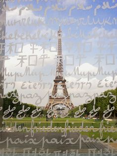 Peace Monument, Paris | France       zThis has been tagged with typography, paris, france, tour eiffel, eiffel tower, landscape, architecture, steel, building, glass, letters, peace,   RHttp://travelingcolors.tumblr.com