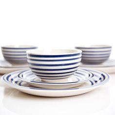 Handpainted Portobello Blue & White Dinner Set 16pc