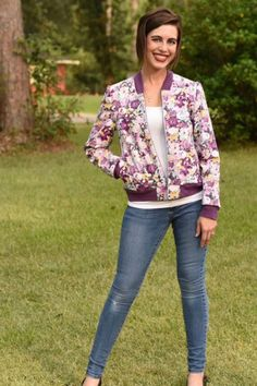 Amelia Bomber Jacket sewing pattern from Wardrobe By Me - The Pattern Pages Sewing Magazine Patterned Bomber Jacket, Sew Over It, Sewing Magazines, Ribbed Fabric, Sporty Look, Jacket Pattern, French Terry, Amelia, Sewing Patterns
