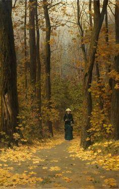 Woman walking on a forest trail, byVasili Dimitrievich Polenov