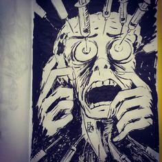 #inktober2016 #inktober #sketchbook #trypanophobia #needles #injection #brushpen