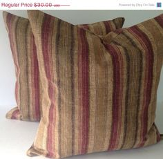 SALE CLEARANCE Rustic Brown  Stripe Set of by TwistedBobbinDesigns
