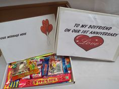 Retro Sweets Gift Box BOY/GIRLFRIEND ANNIVERSARYFREE personalisation (45 sweets)  | eBay