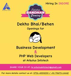 #PHPDeveloper - Laravel/CI  Experience Required: 06 Month to 4 years. Skills-PHP, Laravel, Codeigniter,Angular.  #BusinessDevelopment  Experience Required: 0 to 5 years. Skills-Experience in sales (IT), Strong Communication skills.  #Salary: Depend on skills and performance in Interview.💰  #Inbox your resume at: hr.arbutusinfotech@gmail.com🗃️  #Call: 0731-4000233 / +91 70673-14442🤙  #Location: Indore.🗺️   #ArbutusInfotechPrivateLimited #WebDevelopment #laravelDevelopment #codeigniterDevelo Hiring Poster, We Are Hiring, Indore, Communication Skills, 4 Years, Web Development, Resume, Interview, Strong
