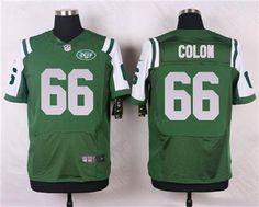 Nike New York Jets #66 Willie Colon Green Elite Jersey