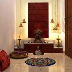 pooja designs mandir puja indian interior temple wall door interiors simple vastu living traditional decor apartments bells contemporary homes modern