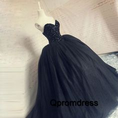 Ball gowns wedding dress, black tulle + sequins sweetheart dress for prom 2017