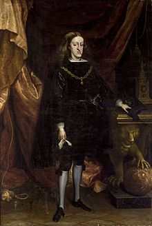 King Charles II of Spain, last Habsburg Monarch of Spain. Charles died Childless in 1700,  his Nephew, Philip Duke of Anjou (grandson of Louis XIV of France)succeeded him as King of Spain.