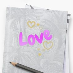 'Love And Golden Hearts' Sticker by Roanemermaid Decorative Stickers, Golden Heart, Plastic Stickers, Love Spells, Transparent Stickers, Laptop Stickers, Sticker Design, Sell Your Art, Black Backgrounds
