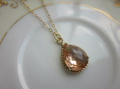 Champagne Necklace Peach Pink Gold Teardrop  14k Gold by laalee, $31.00