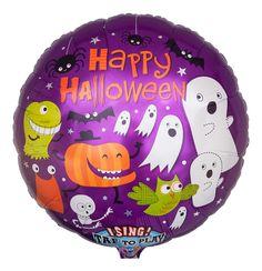 "Singender Ballon ""Happy Halloween""; Größe: 71 cm (28""); charmanter Folienballon  wünscht musikalisch Happy Halloween mit Ray Parkers Klassiker ""GHOSTBUSTERS!"""