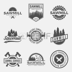 vector set of sawmill labels, badges and design elements. Stock Photo - 42584439