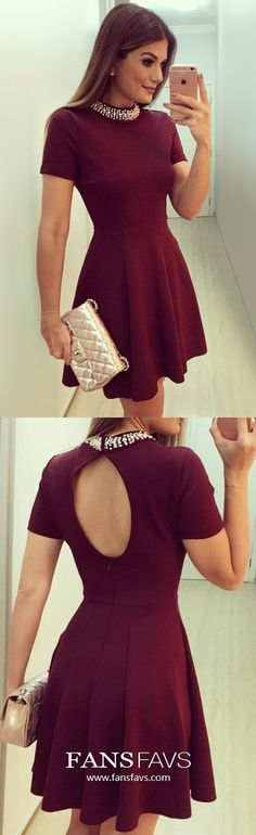 Burgundy Homecoming Dresses Short, Modest Prom Dresses With Sleeves, A-line Sweet Sixteen Dresses Open Back, Sexy Graduation Party Dresses Satin Source by SELMANADIN Burgundy Homecoming Dresses Short, Vintage Homecoming Dresses, Prom Dresses With Sleeves, Modest Dresses, Graduation Dresses, Short Prom, Hoco Dresses, Modest Outfits, Cheap Formal Dresses