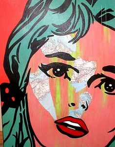 love the pop art technique/contrast. Possibly a silk screen like Andy Warhol?