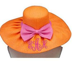 Orange and Pink Wide Brim Floppy Sun Hat Floppy Sun Hats, Orange You Glad, Happy Colors, Color Combos, Orange Color, Rose, Hot Pink, Raspberry, Embroidery