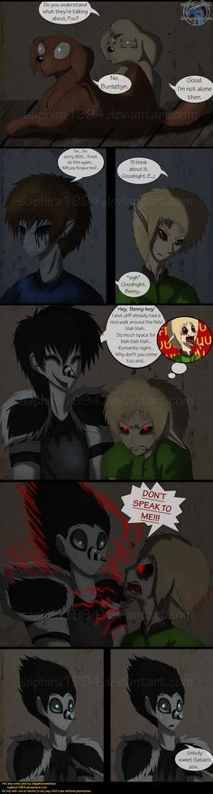 Adventures With Jeff The Killer - PAGE 124 by Sapphiresenthiss on DeviantArt XD I love Laughing Jack's response XD