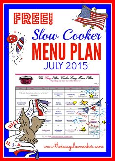 Slow Cooker Menu Plan
