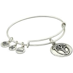 Alex and Ani Unexpected Miracles II Charm Bangle (Rafaelian Silver)... ($28) ❤ liked on Polyvore featuring jewelry, bracelets, adjustable bangle, alex and ani charms, bangle charm bracelet, silver charm bangle and silver jewellery