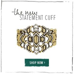 DECO CASCADE ADJUSTABLE BRASS CUFF Feminine meets edgy in this bold, architectural piece that comes packed with pave sparkle. Wear this bracelet on both wrists for the conversation-starting, double-cuff trend. https://www.chloeandisabel.com/products/B166B/deco-cascade-adjustable-brass-cuff/?m=melissaleski