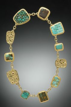 Chinese Turquoise Mosaic, Gold Catch and Beads Studded with White and Cognac Diamonds Hughes-Bosca Jewelry Modern Jewelry, Jewelry Art, Vintage Jewelry, Jewelry Necklaces, Jewelry Design, Fashion Jewelry, Jewellery, Unique Necklaces, Gold Necklace