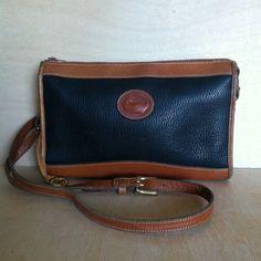 Vintage 1980s Dooney and Bourke AWL Black Pebbled Leather Crossbody Handbag Shoulder bag Purse by ForestaVintage on Etsy