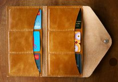 Envelope Style Leather Wallet The Lupe in by RobbieMoto on Etsy