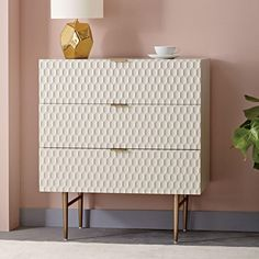 Audrey 3-Drawer Dresser with white or gold cot