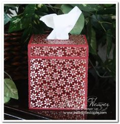 Petals a Plenty Metal Embossed Tissue Box Cover by - Cards and Paper Crafts at Splitcoaststampers Tissue Box Covers, Tissue Boxes, 3d Paper, Paper Crafts, Making Paper Mache, Metal Embossing, 3d Craft, Tapestries, Pewter