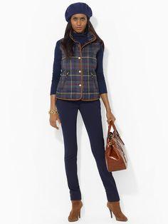 ❦ Leather-Trimmed Plaid Vest - Outerwear   Lauren - RalphLauren.com