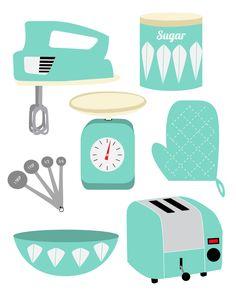 Retro Kitchen Print by HollyWouldPress Kitchen Prints, Kitchen Art, 50s Kitchen, Kitchen Posters, Kitchen Clipart, Recipe Scrapbook, Scrapbook Embellishments, Retro Art, Recipe Cards