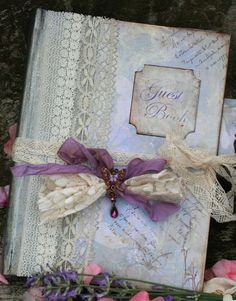Unique Lavender themed Wedding Guest Book by youruniquescrapbook
