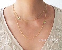 Gold Layered Necklace Sideway Bird Necklace Gold by Jewelsalem