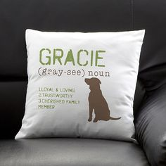 21. Personalized Throw Pillow, $23.95. Lets face it… your dog probably takes over most of your furniture already. These personalized pillows complete with your dog's name and description will help you keep a little pride as they take over the living room. I mean it did have their name on it.