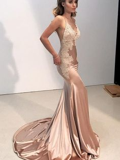 cb2590b8ac Sheath Stain Blush Mermaid Straps Elegant Prom Dresses V Neckline Evening  Dresses