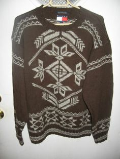 Tommy Hilfiger Mens Brown Snowflake Heavy Winter Cotton Wool Blend Sweater L