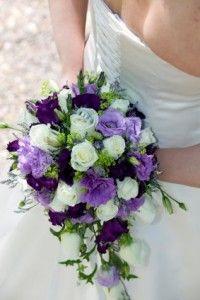 purple, green, and white bridal bouquet. I love this colour scheme