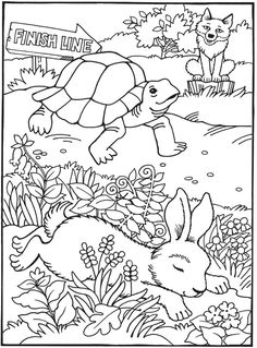 Best-Loved AESOP'S FABLES The Tortoise and The Hare <> Coloring Book FOR CHILDREN By: Maggie Swanson -  Dover Publications 2 of 8