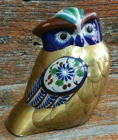 Vintage Mexican Folk Art Ceramic and Brass Owl Figurine, Tonala Mexico Folk Art Owl, Brass Owl Figurine by EmptyNestVintage on Etsy