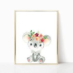 Koala Nursery Print Baby Animal Baby Shower Girl Nursery Decor Animals Nursery Poster Nursery Wall A Koala Nursery, Baby Girl Nursery Decor, Animal Nursery, Baby Room, Baby Prints, Nursery Prints, Nursery Wall Art, Baby Girl Shower Themes, Baby Shower Decorations