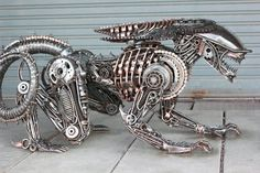**This item was sold, it is an example work for made-to-order    Unique art metal sculpture table, recycled spare part(without glass on top)  for more